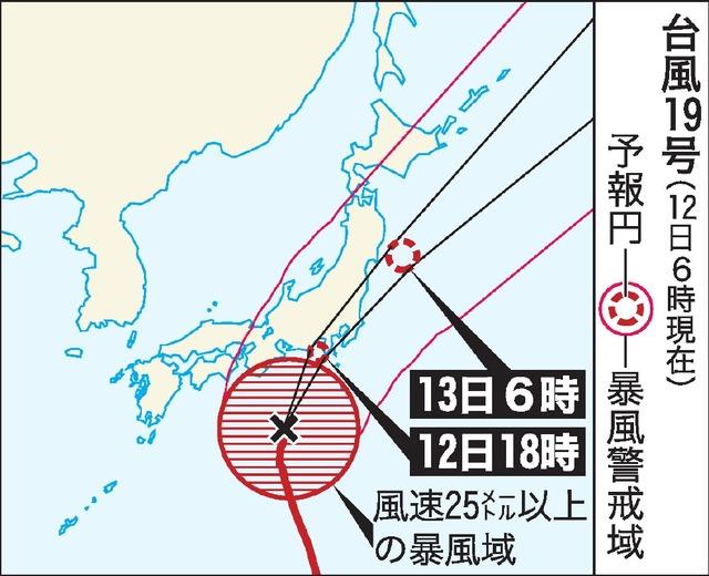第19号超强台风今天下午登陆日本 各地区将迎来创纪录暴风雨天气