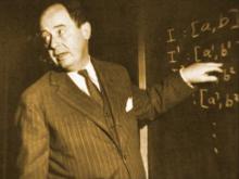 """冯诺依曼在讲课(""""用黑板擦证明定理"""")"""