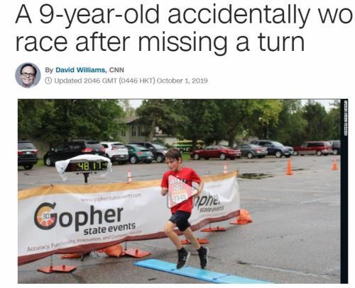歪打正着!这个男孩赛跑误闯隔壁赛道却意外夺金