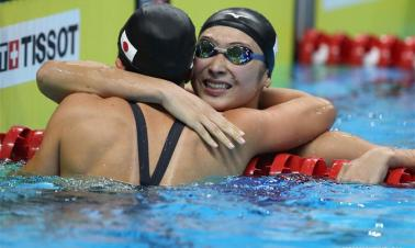 Ikee Rikako of Japan wins women's 100m freestyle
