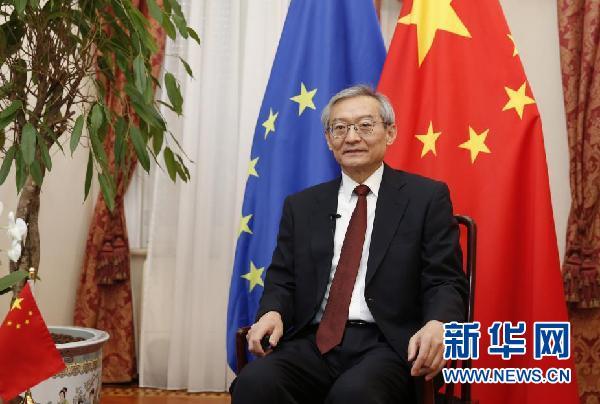 资料图:中国驻欧盟使团团长张明。