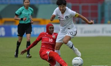 In pics: women's football Group A match in Palembang, Indonesia