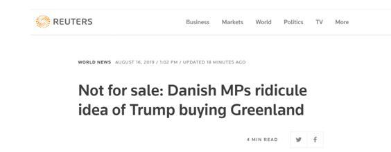 特朗普想买下格陵兰岛,丹麦回应:开玩笑吧?