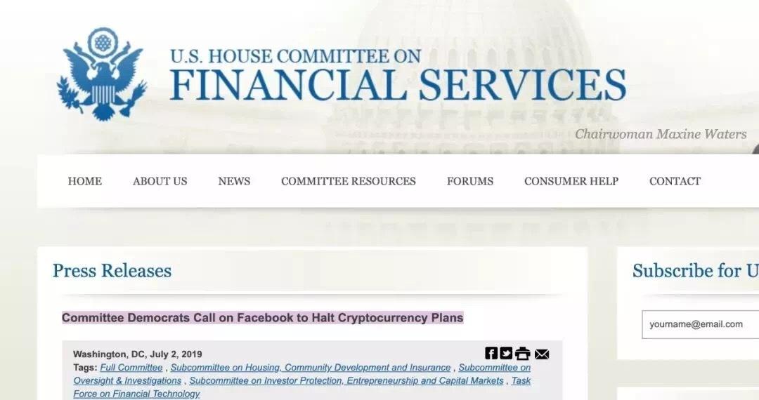 美国国会叫停facebook发行的Libra项目
