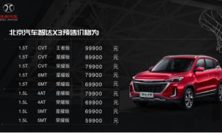 北京汽车智达X3预售价5.99万元-9.99万元