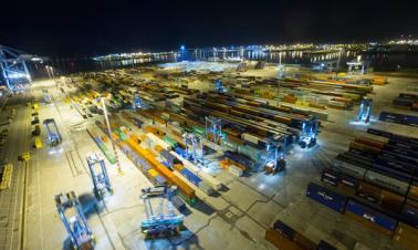 Working scenery of Zeebrugge Terminal in Belgium