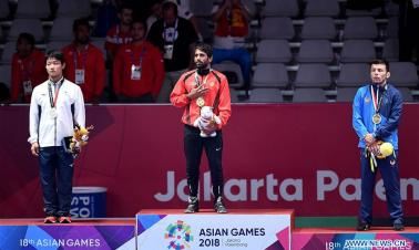 Highlights of men's wrestling freestyle final of 18th Asian Games