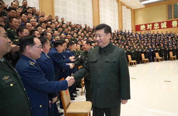 2月12日,中共中央总书记、国家主席、中央军委主席习近平在成都亲切接见驻蓉部队师以上领导干部和建制团单位主官。