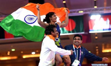 In pics: women's wrestling freestyle 50 kg final at 18th Asian Games